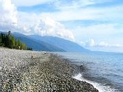 Пляж пансионата Лагуна в Абхазии.